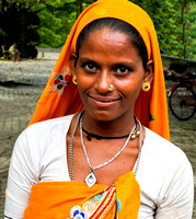 Girl in Orange Turban, India